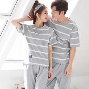 Image 5 - Summer Short Sleeve Cat Pyjamas Lovers 100%Cotton Couple Pajama Sets Women/Men Sleepwear Striped Nightgown Big Size Home Clothes