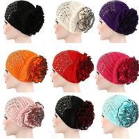 12pcs Muslim Women Hijab Elastic Flower Hat Islamic Arab Bonnet Beanies Turban Chemo Cancer Hair Loss Cap Headwrap Random Color