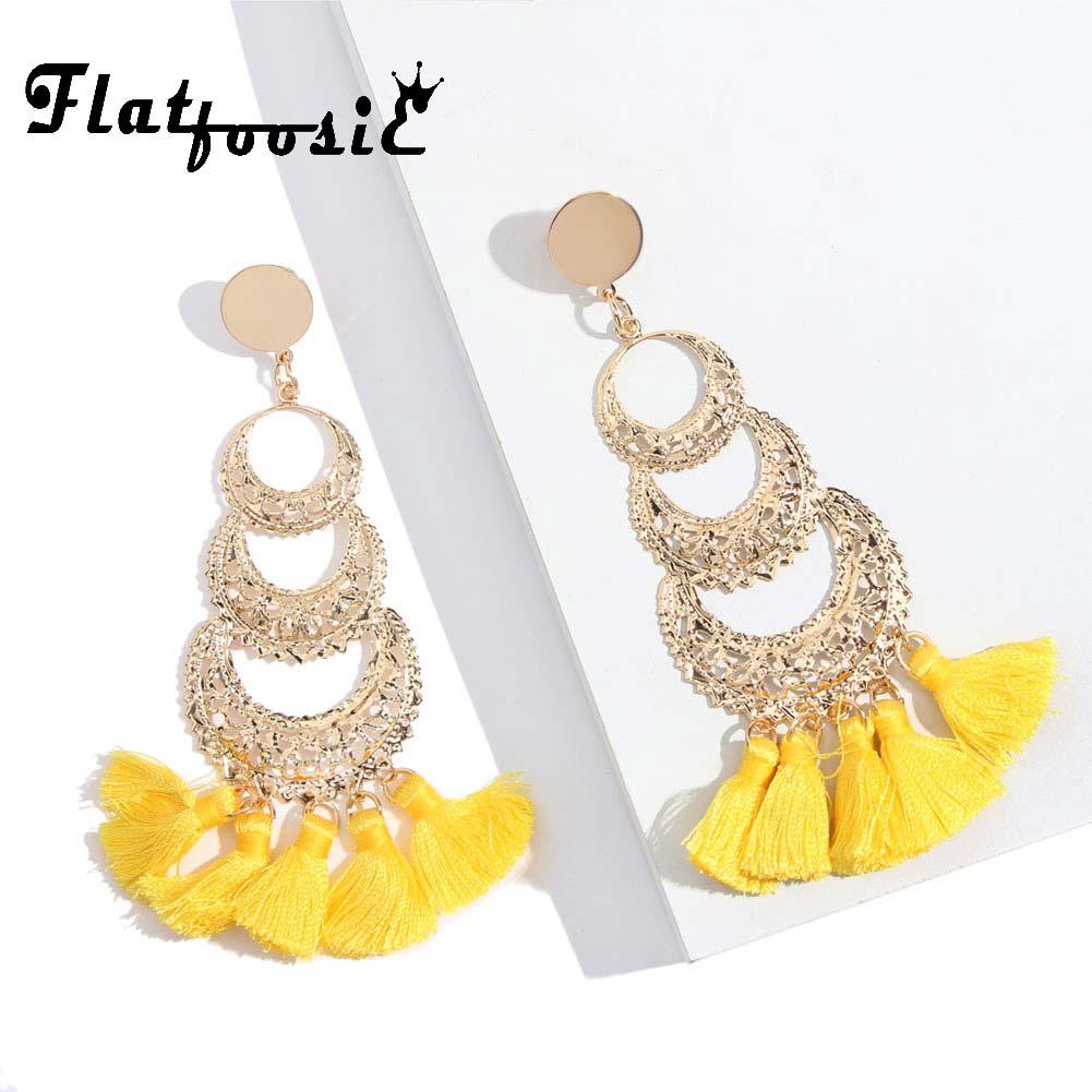 Flatfoosie Ethnic Tassel Dangle Earrings For Women Bohemia Layered Fringe Pendant Long Drop Earring 2018 Vintage Brincos Jewelry