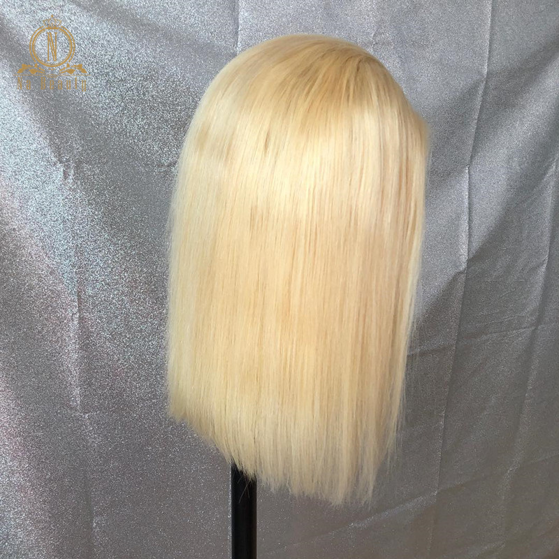 HTB1EozAPbrpK1RjSZTEq6AWAVXaX 613 Short Bob Wigs 1B 613 Ombre Honey Remy Pre Plucked Straight 13x6 Blonde Lace Front Human Hair Wig for Women Natural Black