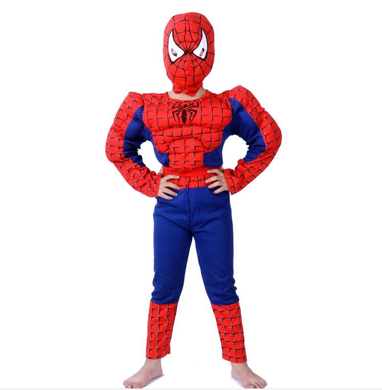 2016 Children <font><b>Spider-man</b></font> clothing role play halloween <font><b>costumes</b></font> for kids Spider man <font><b>Muscle</b></font> models <font><b>boys</b></font> girls clothing set dress