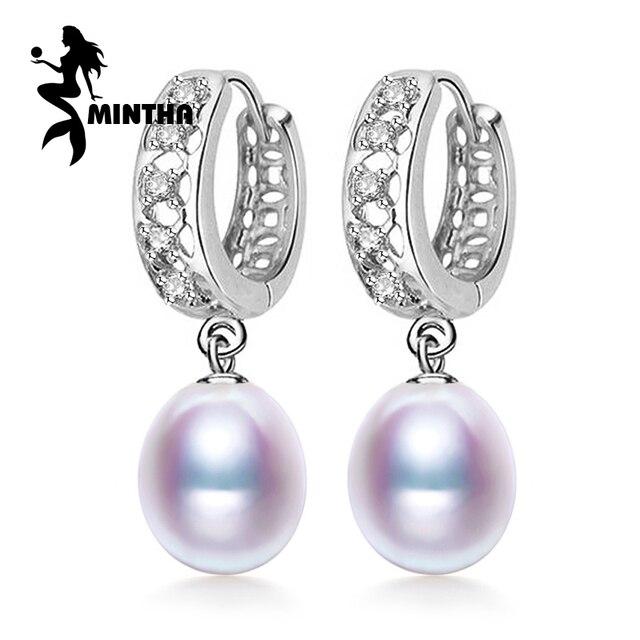 Mintha Pearl Earring 925 Sterling Silver Earrings Wedding Birthday Gift Jewelry Women Vintage