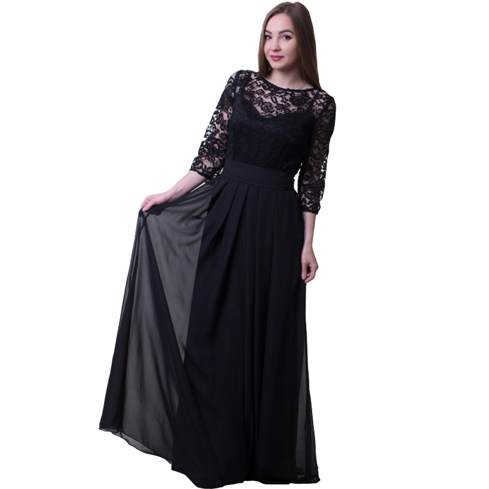 Chiffon Mother and Daughter Clothes Long Sleeve Women Evening Dress For Party and Evening Gowns Lace Prom Dresses For Women lace trim asymmetric chiffon long sleeve blouse