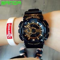 SANDA New Watch Men Fashion Waterproof LED Sports Military Watches Shock Men S Analog Quartz Digital