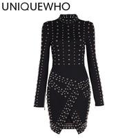 UNIQUEWHO 2018 Chic Women Punk Style Mini Dress Slim Black White Long Sleeve Beaded Bodycon Dress