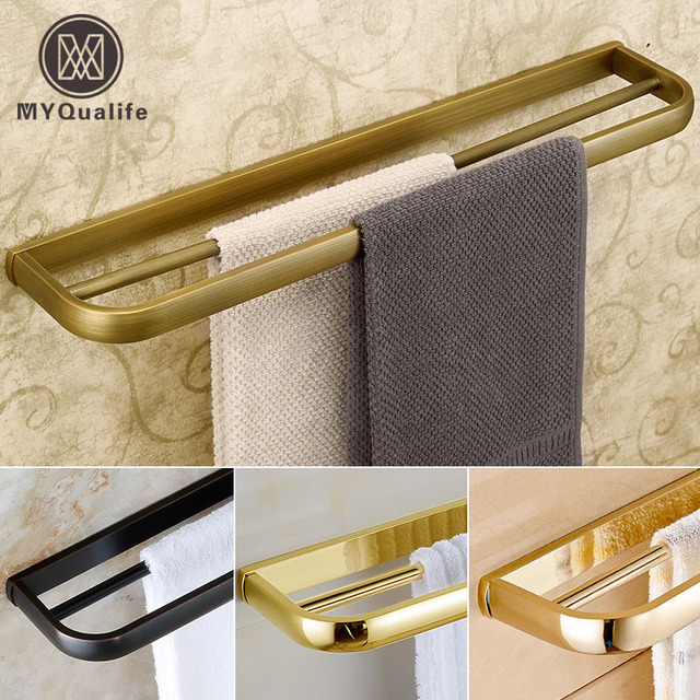 Rose golden/antique Wall Mounted Towel Rack Bathroom Double Towel Bar Towel Shelf 57cm 4 Styles