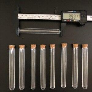 Image 3 - 100 adet 12x100mm Şeffaf Plastik test tüpleri mantarlar ile Plastik laboratuvar test yuvarlak boru fişi laboratuvar Şeffaf plastik tüpler flakon