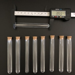 Image 3 - 400pcs 12x100mm Clear Plastic test tubes with corks Plastic laboratory test round tube plug lab Transparent plastic tubes vial