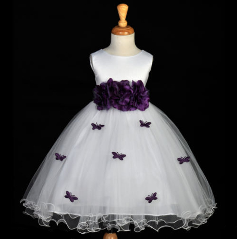 Flower Girl Dress Butterfly Party Wedding Princess Tulle 2017 Summer Dresses Children Clothes Size 3-7 Pageant Sundress christmas holiday flower girl dress butterfly princess children dresses for party wedding birthday gift