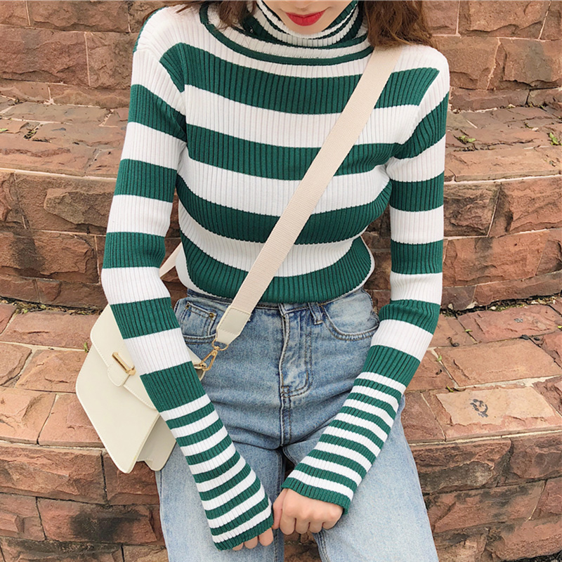 5604d6ab96 Turtleneck Women Sweater Striped Casual Black Pullover Thumb Hole Cotton  Street Wear Knitted Tops Long Sleeve