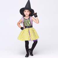 2017 Girl Devil Halloween Costumes Kids Little Witch Kids Stage Performance Dress Halloween Masquerade Carnival Clothes