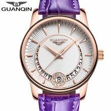 GUANQIN Women's Fashion Casual Quartz Watch Women Clock Gold Case Leather Strap Ladies Luxury Jewelry Watches Relogio Feminino