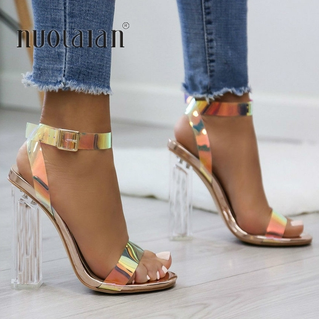2019 Summer PVC Clear Transparent Strappy High Heels Shoes Women Sandals Peep Toe Sexy Party Female Ladies Shoes Woman Sandalias