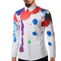 Brand 2017 Fashion Male Shirt Long Sleeves Tops Maritime Sailboat Digital Printing Mens Dress Shirts Slim
