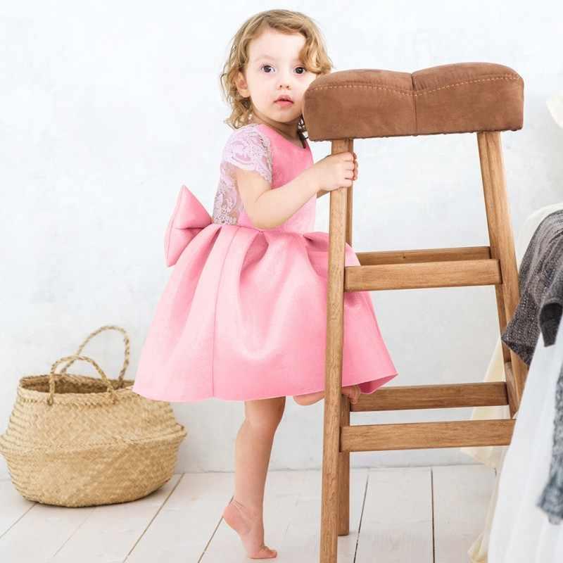 Летнее платье принцессы для девочек; одежда для малышей; милое кружевное платье с большим бантом для маленьких девочек; Модные свадебные платья принцессы для подростков