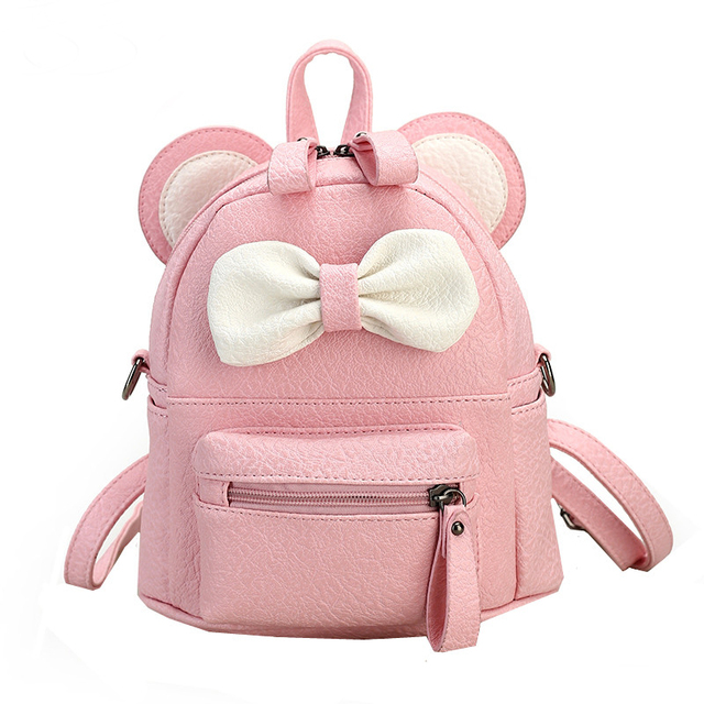 95bcbe752 2016 Color caramelo Mini Mochila para niñas lindo ratón oreja bolsa alta  calidad mujer cuero Mochila