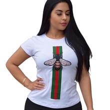 c3466362 2019 New Bee Print T-shirt Women Spring Summer Fashion O neck Short Sleeve  Casual