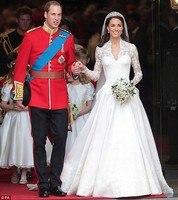 Real Sample Celebrity Wedding Dresses Kate Middleton Princess Modest Conservative Full Sleeve Lace Bridal Dress Cathedral