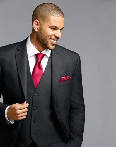 752c2f3d7427ef Gray 5Pieces(Jacket+Pant+Tie+Handkerchief+Vest) Notch Lapel Brand Clothing  Men Suits Slim Fit Fashion Terno Masculino Bespoke