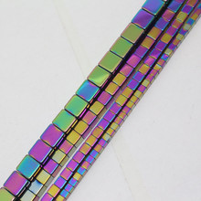 Mini. order is $7! 2-6mm Multicolor Hematite Square Cube Jewelry Making Loose beads Strand 15″