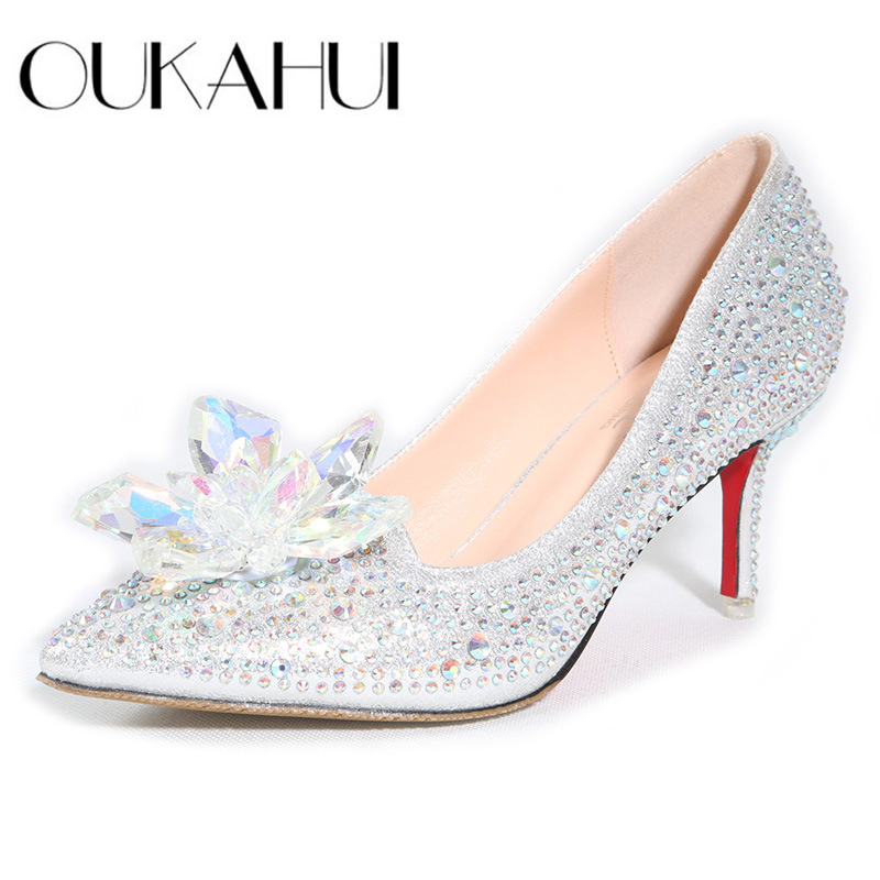 Cinderella glass pointed high heels Red bottom Women Pumps Leather Rhinestones Wedding Shoes Woman Pointed Toe High Heels Ladies