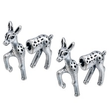 QIMING One Pair Two Parts Animal studs Fake Gauge Earrings Bambi Deer Studs Faux Plug earrings Fantastic Womem Men Nice Bijou