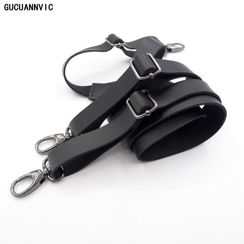 Innovative Leather Hook Buckle Suspenders Men And Women Braces Gun Pliers Buckle Leather Black Brown Narrow Strap Hook