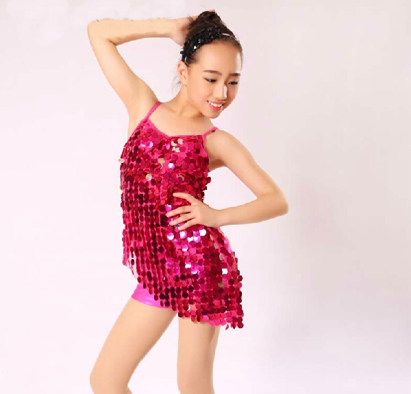 2015 Kid Girl Hot Pink Latin Sequin Dance Costume With -7821
