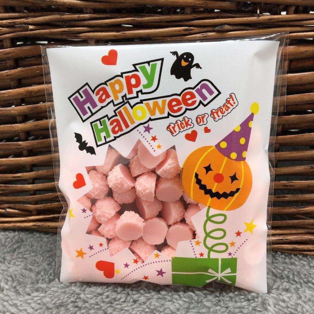 Halloween Snoep.Us 1 42 5 Off 50 Stks Gelukkig Halloween Cookie Snoep Brood Verpakking Zakken Zelfklevende Plastic Zakken Voor Koekjes Bakken Snack Pakket 10x10 3