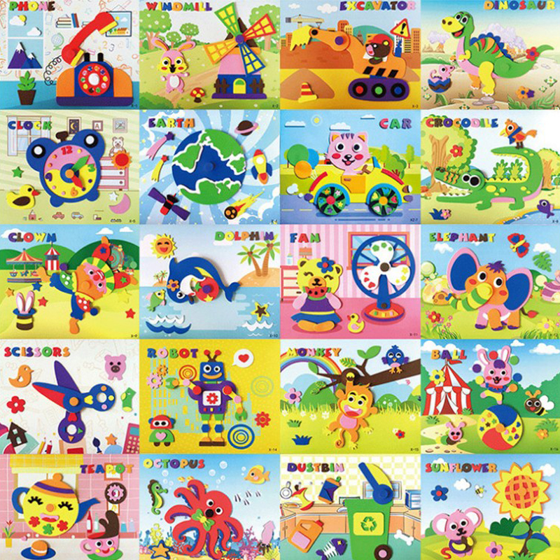 DIY Applique Kids Rotating Sticker Toy Handmade Non-woven Cloth Cartoon Animal Rotating Painting Art CraftGift Soft EVA Toys