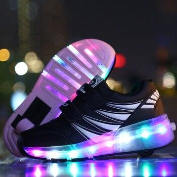 Iluminar Patines | Zapatillas De Deporte Brillantes Para Niños, Zapatillas Con Ruedas, Patines Led, Zapatillas Deportivas Luminosas Para Niños, Rosa Y Negro