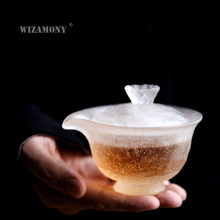 1PCS WIZAMONY Chinese Kung Fu Tea set gaiwan teapot teacups fair mug tea set Japanese Lotus ice colored glaze puer Drinkware(China)