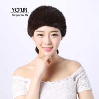 [YCFUR] Real Fur Headband Women Hairband Knit Genuine Mink Fur Headbands Girls Elastic Ring Scarf Turban Female
