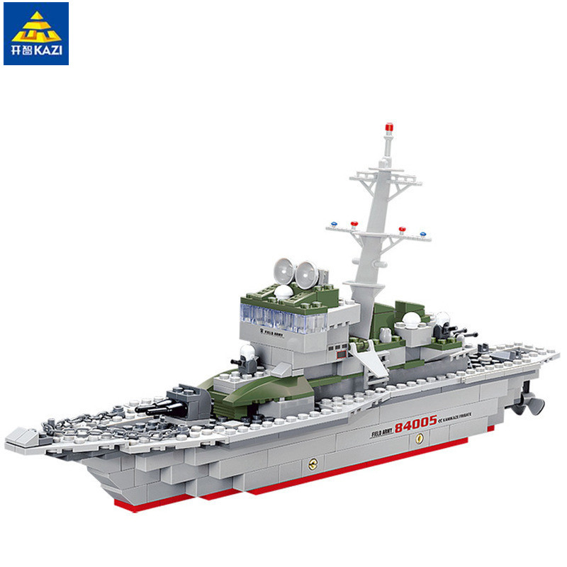 все цены на KAZI Military Frigate Blocks 228pcs Bricks Building Blocks Sets Education Toys For Children