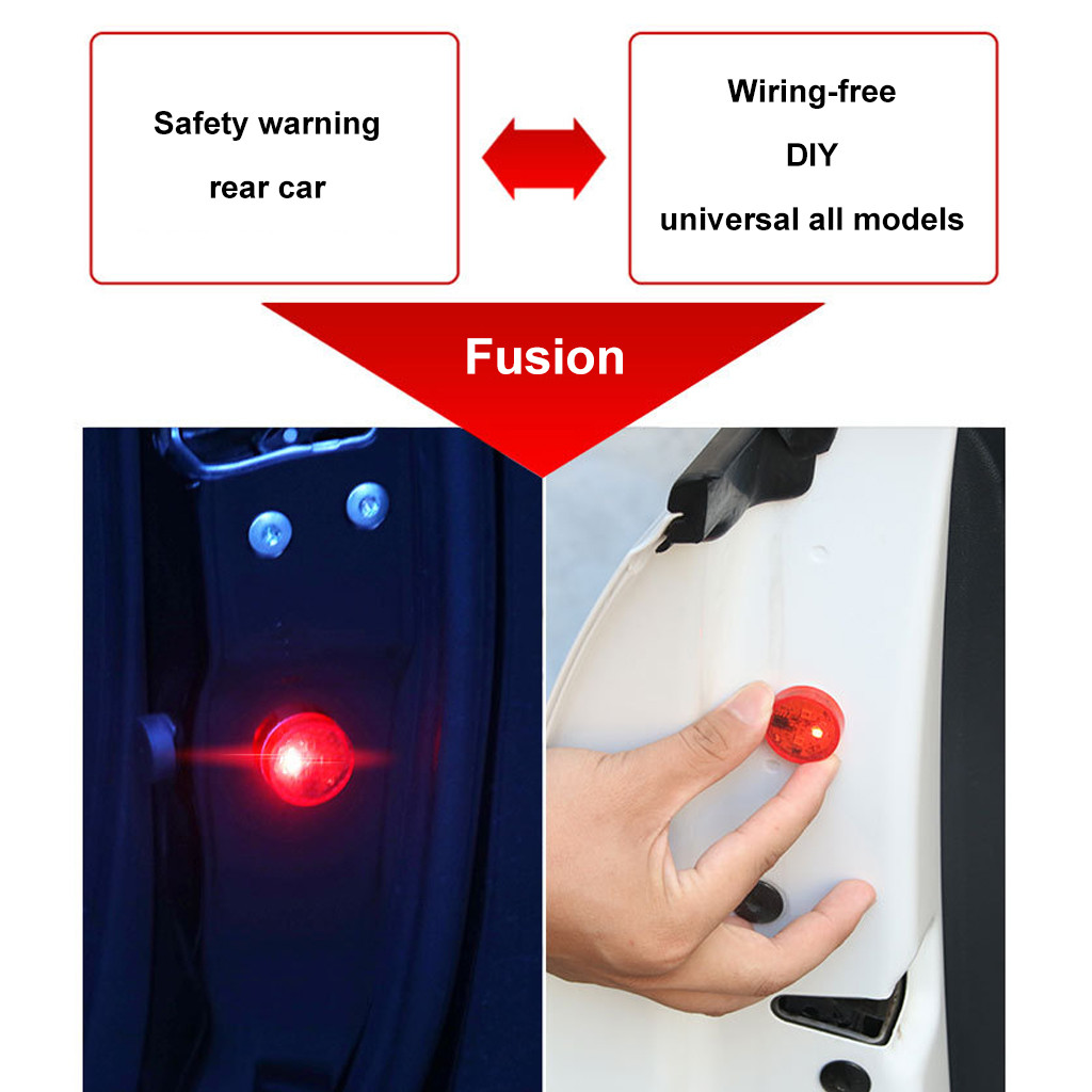 Image 5 - 2PC Car Accessories LED Lamps For Cars 5LED Car Door Warning Light Wireless Anti Rear Collision Lamp Kit Flash-in Signal Lamp from Automobiles & Motorcycles