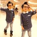 YN- autumn children boys shirts, polka dot turn-down collar long sleeve shirts.