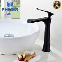 PHLIER Supper High Quality Tall Sink Faucet Bathroom Basin Sink Faucet Bathroom Brass Cold Hot Diamond