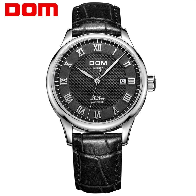 DOM Men Watch Top Brand High Quality Man Watches Fashion Casual Male Leather Waterproof Quartz Watch Men Sports Wrist Watch M-41