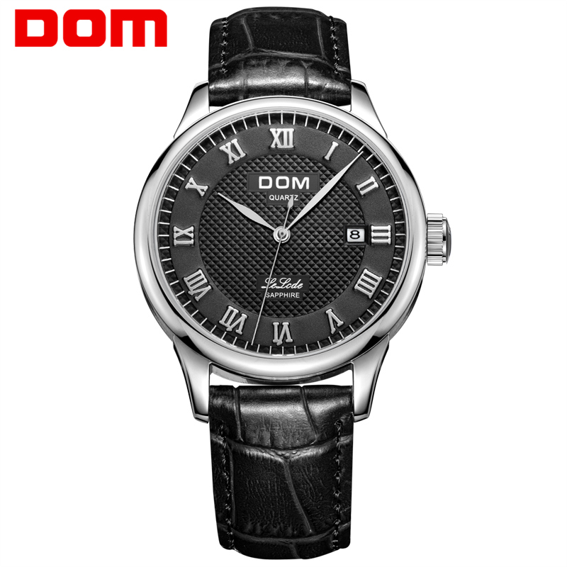 Mens Watches DOM Top Brand Luxury Waterproof Ultra Thin Date Clock Male Leather Casual Quartz Watch Men Sports Wrist Watch M-41 casual watch men date analog canvas band sports waterproof quartz watch luxury male clock business mens wrist watch