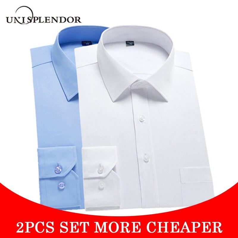 Unisplendor 2pcs Set Long Sleeve Men Slim Dress Shirt High Quality Solid Male Clothing Fit Business Shirts Plus Size 4XL YN10403