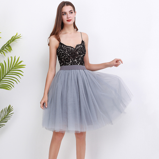 5 Layers 60cm Princess Midi Tulle Skirt Pleated Dance Tutu Skirts Womens Lolita Petticoat Jupe Saia