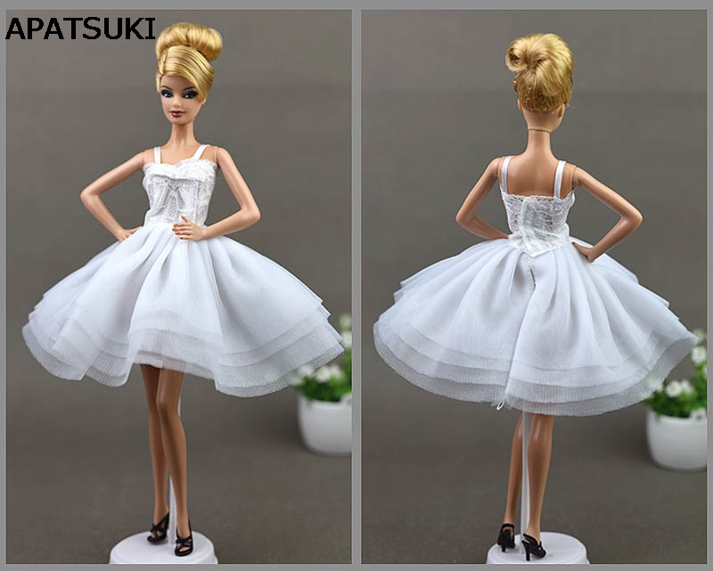 White Lace Short Dress For Barbie Doll Princess Evening