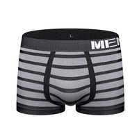 Calzoncillos Bóxer cortos calzoncillos a rayas para hombre, ropa interior, sin costuras, básico, M0041