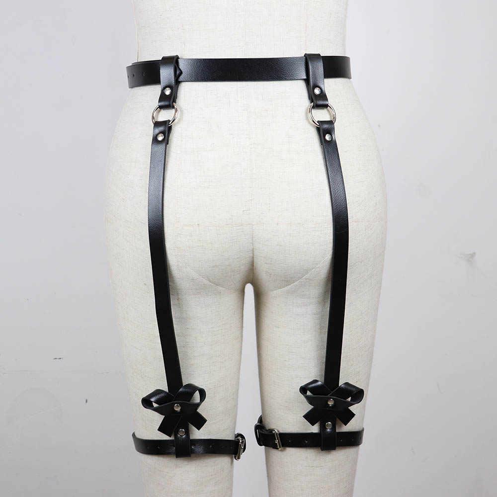 UYEE เซ็กซี่หนัง Garter เข็มขัด Bondage ผู้หญิง Suspenders Goth ชุดชั้นในขา Cage ชุดชั้นในถุงน่อง Punk Top