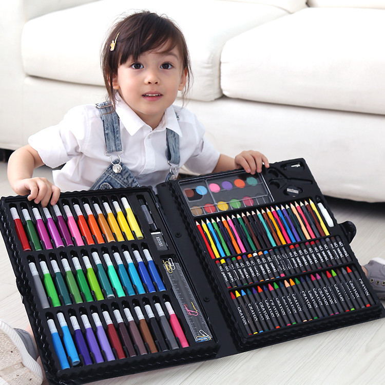 150pcs Children Drawing Set Art Marker Watercolor Brush Pen Crayons For Kids Gift Box Painting Tools Art Supplies 150 children s painting art supplies set stationery gift box paint brush color pencil drawing tools office stationary