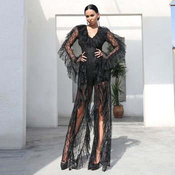 2018 New Arrival Fashion Khaki Black Lace Jumpsuit Sexy Deep V Neck High Split Celebrity Evening Party Jumpsuits Dropshiping