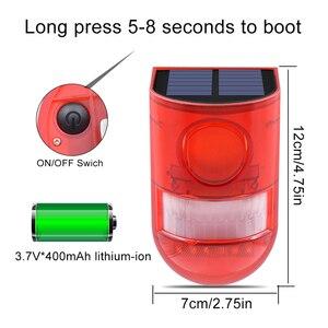 Image 2 - Солнечная сигнальная лампа 110 дБ, Предупреждение ющий звук 6 светодиодов, красный светильник IP65, водонепроницаемый датчик движения, предупреждающий светильник s для секретной стены склада