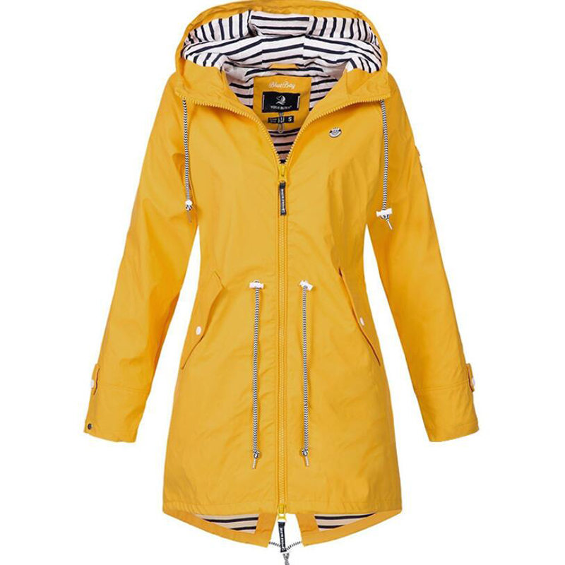 2019 spring and autumn Women's Solid Rain Jacket Outdoor Jackets Waterproof Hooded Raincoat Windproof free shipping