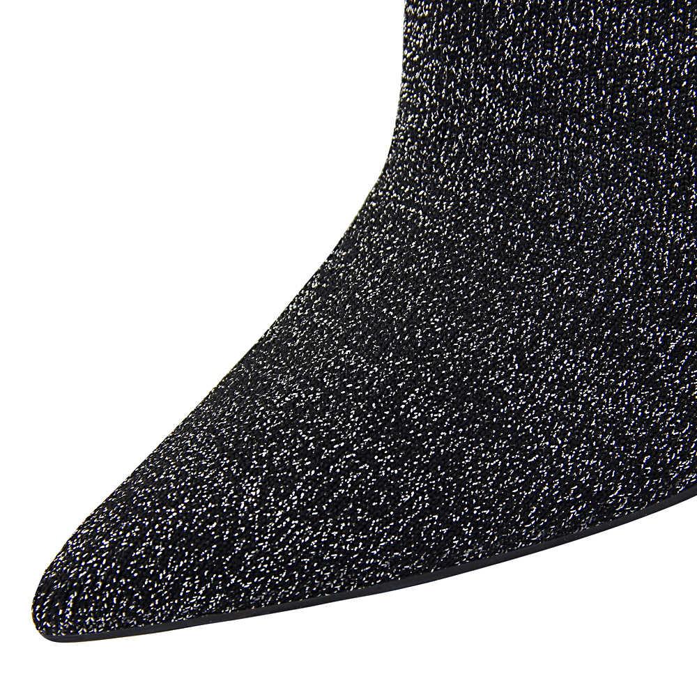 Plardin Kış Muhtasar Orta Buzağı Çizmeler Bling Kadın Ayakkabı Kare Topuk Sivri Burun Ince Topuklu Kadın Streç Kumaş Moda çizmeler