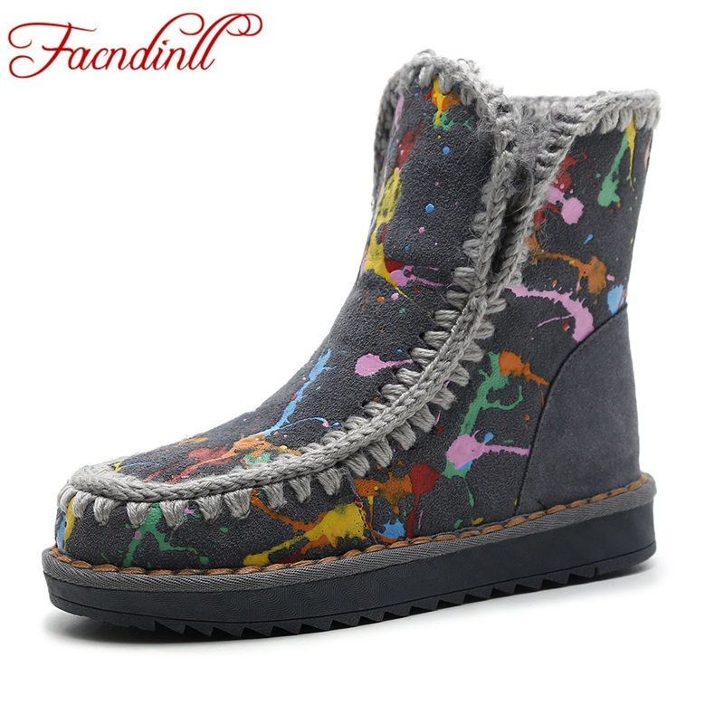 FACNDINLL women new fashion winter snow boots genuine leather med heel platform shoes woman casual warm snow ankle boots women fedonas top quality winter ankle boots women platform high heels genuine leather shoes woman warm plush snow motorcycle boots